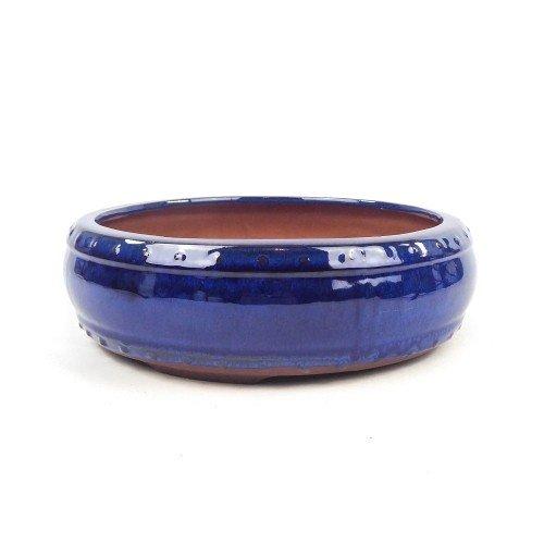 Tiesto redondo esmaltado color azul 30x8,5 cm