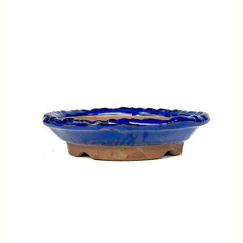 Tiesto kusamono japonés redondo en color azul  18,5x18x4 cm