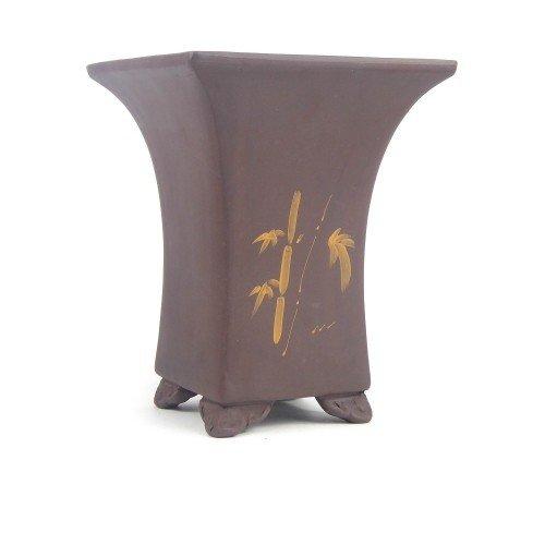 Tiesto cascada color marrón sin esmaltar 16,5x16,5x21 cm