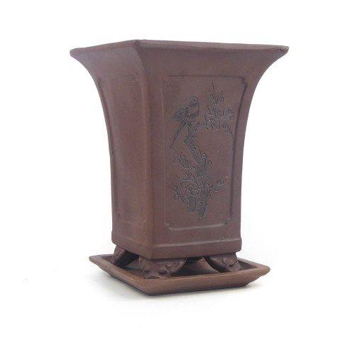 Tiesto cascada marrón con plato sin esmaltar 15x15x19,5 cm