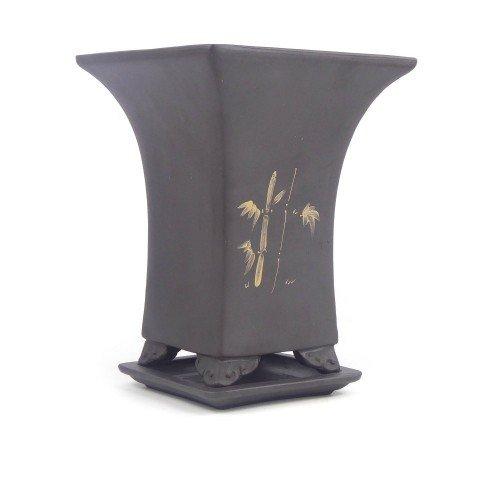 Tiesto cascada negro con plato sin esmaltar 16,5x16,5x21 cm