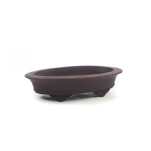 Tiesto ovalado yixing marrón sin esmaltar 20x13x5 cm