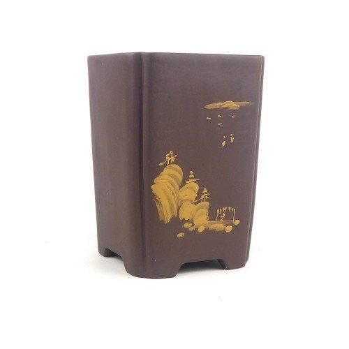 Tiesto cascada marrón yixing sin esmaltar 13x13x18 cm